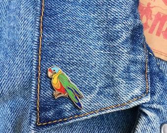 Parrot Pin, Hard Enamel Pin, Jewelry, Art, Animals, Lapel Pin, Stocking Stuffer, Gift (PIN115)