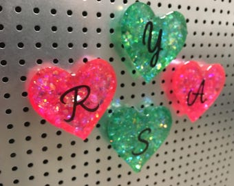 Customized Pink and Teal Heart Magnets w/ Initial