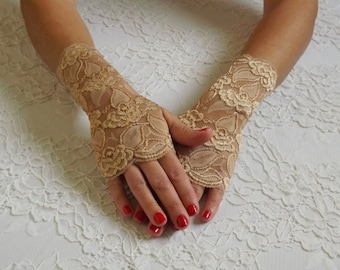 Gold fingerless lace gloves. Bridal gold lace gloves. Elastic floral lace mittens.