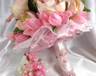 Pink, White and Cream, Calla Lily Beaded Bridal Bouquet and Boutonierre 2 piece set ready to ship