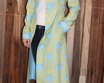 FREE SHIPPING-Blue and Green Teal Length Sundance Coat