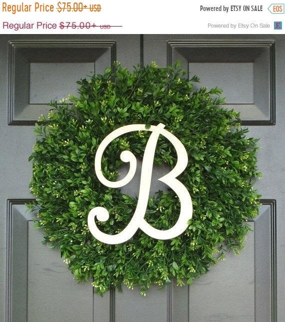 SUMMER WREATH SALE Monogram Boxwood Wreath, Boxwood Wreath with Personal Initial, Fall Wreath, Front Door Decor, Etsy Wreath