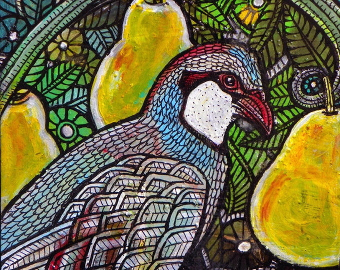 """Original """"Partridge in a Pear Tree"""" Painting by Lynnette Shelley"""