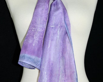 Lavender Silk Scarf. Violet Hand Painted Silk Shawl. Handmade Silk Scarf LILAC BREEZE. Size 8x54. Birthday, Bridesmaid Gift. Gift-Wrapped