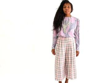 plaid vintage culottes pants . pink & gray plaid pants . rayon culottes . plaid pants . wide leg rayon palazzo pants . size large gauchos