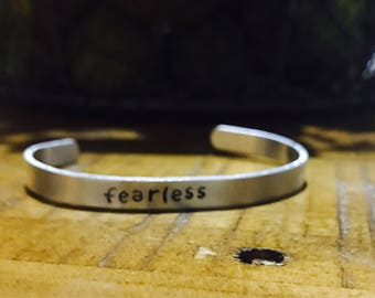 Fearless cuff , custom cuff, inspirational bracelet, affirmation jewelry