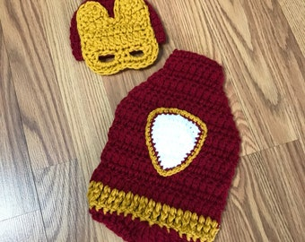 Crochet Ironman cape set~ Ironman cape set~ Ironman inspired costume ~ Ironman cape photo prop set