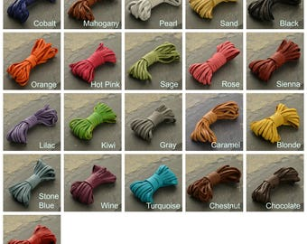 3 mm Cord, Leather Cord, Thin Leather Cord, Deer Hide Leather, Deer Hide Cord, Colorful Leather, Colorful Cord, DIY Necklace, DIY Bracelet