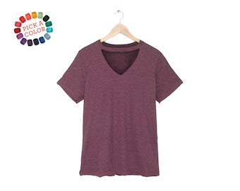 Cutout Wide V-Neck Tee - Choker T-shirt, Loose Fit Tshirt, Keyhole Top in Heather Maroon or Pick a Custom Color - Women's Size S-3XL