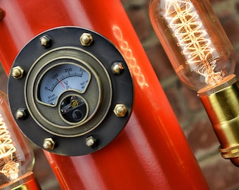 SteamLight Gauge - Antique Brass - Industrial Gauge - Steampunk Gauge - Old Gauge - Vintage Gauge - Steampunk Art