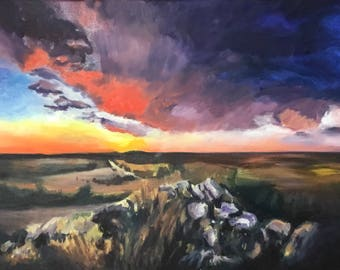 Sunset painting, Oil Painting, Original Landscape, 16x24 inches, Colorful Artwork,