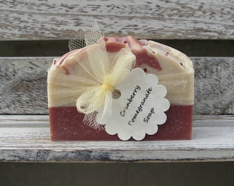Cranberry Pomegranate Handcrafted Soap, Goats Milk Soap, Mild Soap, Best seller, FREE SHIPPING