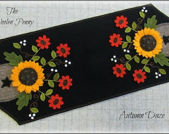 Autumn Daze Wool Applique Penny Rug Table Runner PATTERN