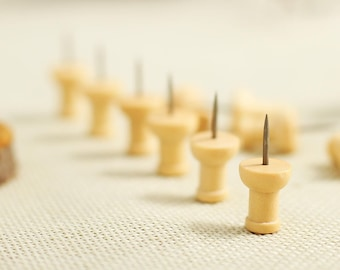 10 Pcs Wooden Push Pins - Drawing pin - Thumbtack