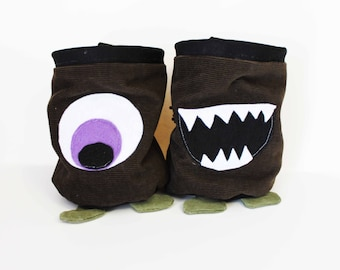 Corduroy Monsters - Ooglie Eye and Chomper - Rock Climbing Chalk Bag