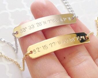 Dainty Personalized Bracelet, Coordinate Jewelry, Latitude Longitude Bracelet, Friendship Bracelet - 5BR *