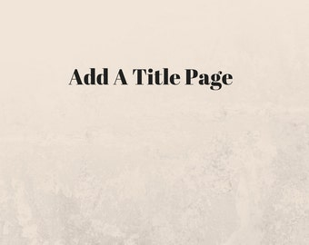 Title Page Add On For Journal