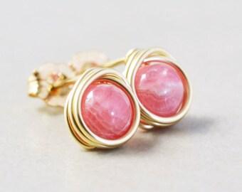 Pink Stone Studs, Rhodochrosite Post Earrings, Pink Posts