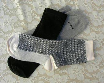 3 Pairs Women's Socks - gray, black, and black & white, vintage like new, women's shoe size 7-9