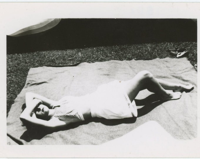 Sunbathing: Vintage Snapshot Photo [83659]