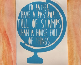 Travel Globe vinyl decal passport stamps house full of things car window laptop macbook sticker wanderlust