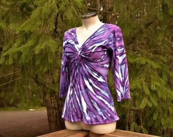 Ultra Violet - V-neck Cotton Tie Dye Top, Hippie clothes, Festival wear, Bohemian, plus size clothing, V neck top,