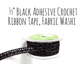 "Black Crochet Fabric Washi Tape Ribbon with Adhesive Sticky Backing, 1/2"" Crochet Ribbon, Washi, Decoration, Gift Wrapping, Craft Supplies"