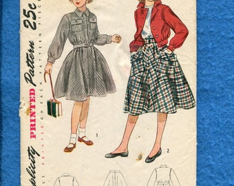 1940's Simplicity 3024 Girl's Bomber Jacket & Flared Skirt Pattern Size 7 UNCUT