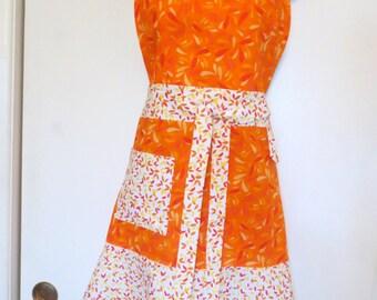 Orange/White Print Full Apron
