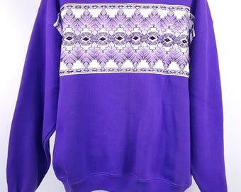 Purple Sweatshirt Gems Embroidered Santa Fe Geometric 80s Fashion