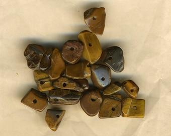 Twenty chips gemstone Tiger eye, natural stone, gemstone nuggets, tiger's eye beads