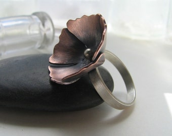 Poppy copper and sterling silver blossom ring - made to order
