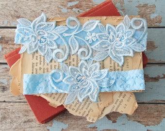 Wedding Garter Set ,Light Blue Beaded Flower Lace Wedding Garter , Light blue Lace Garter, Blue Toss Garter,Bridal Wedding Garter-1826