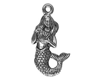 12 Mermaid with Shell 7/8 inch ( 23 mm ) Pewter Dangle Charm Pendants