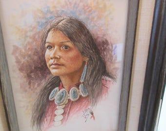 "Calvin Toddy Original Watercolor ""Little Miss Apache"" -- Native American"