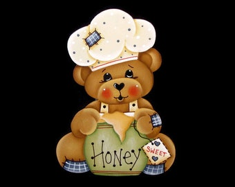 Bear with Honey Pot Ornament or Fridge Magnet, Handpainted Wood Bear Refrigerator Magnet, Hand Painted Bear, Tole Decorative Painting