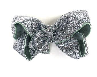 Silver hair bow - hair bows, hair bows for girls, bows, baby bows, pigtail bows, toddler hair bows, girls bows, boutique hair bows, hairbows