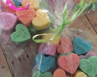 Conversation heart Soaps,Heart Mini Soaps,Valentine Soaps