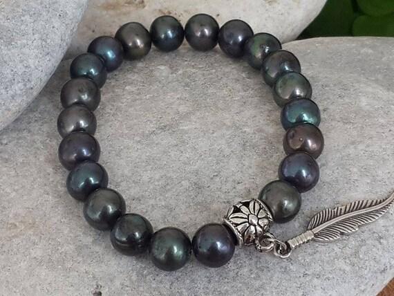 Mens Black Pearl Jewelry Ocean Inspired Natural Stone