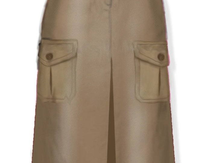 Safari style, skirt, 4 patterns for 4 different sizes
