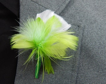 Green and white flower feather boutonniere