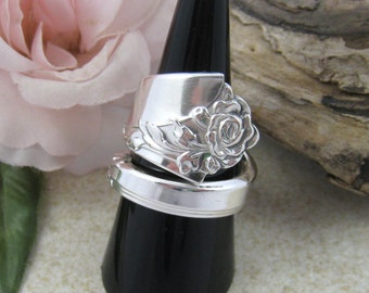 FLORAL RING, Sterling Silver Spoon Ring, Spiral ring, Rose ring, Boho upcycled jewelry, Silver fork jewelry. Size 9 1/4 or customisation.