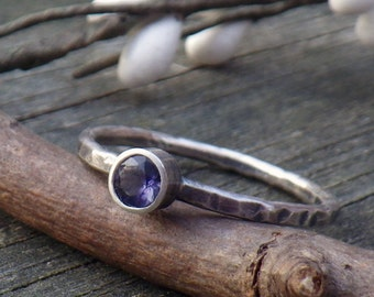Iolite sterling silver ring