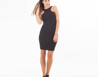 Black Dress - Little Black Dress - Short Sleeve Dress - Color Block Dress - Black Mini Dress - Modern Dress