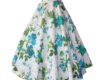 Vintage 50s Circle Skirt Rockabilly Blue Floral Cotton Trapunto S / XS