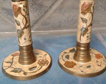 Cloisonne Candlesticks/Vintage Candle Holders