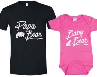 Father daughter matching shirts, father gift, Papa Bear Baby Bear shirts, fathers day gift, mens gift