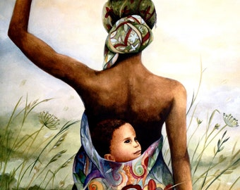 mother with her baby in her back in a field art print
