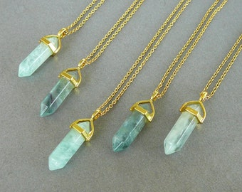 Fluorite Necklace Natural Fluorite pendant Healing Crystal Necklace for women gemstone necklace Gold Green Fluorite necklace Energy crystals