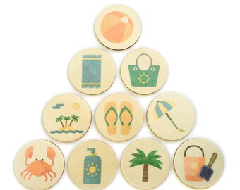 at the beach - story tellers / story stones | my little set | wooden game | story stones | memory match |